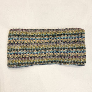 Winter Wide Headband Ear warmer Green Yellow stripes