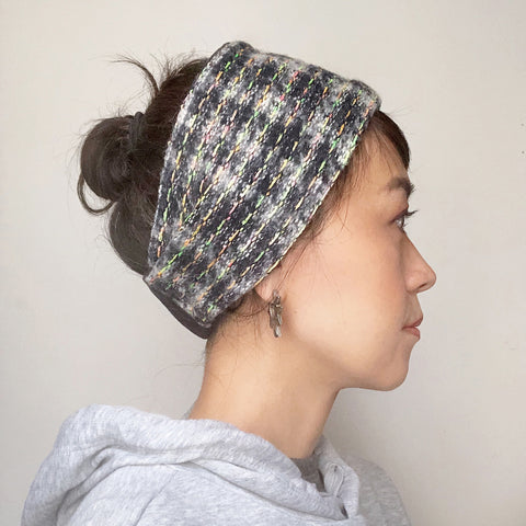 Winter  Headband Ear warmer Navy White Neon stitches