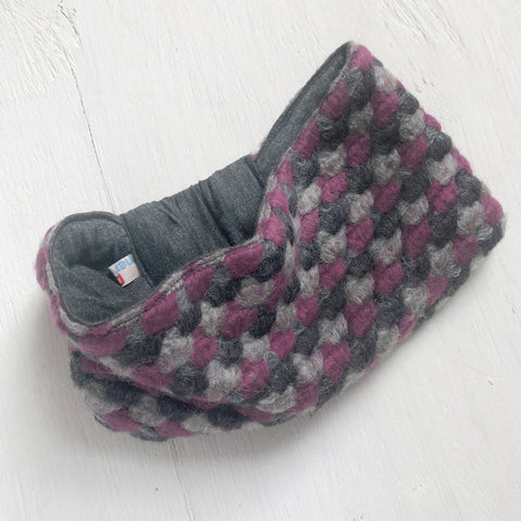 Wool Headband Ear warmer Pink Gray