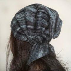 Wool Hat Tie Black Blue stripes