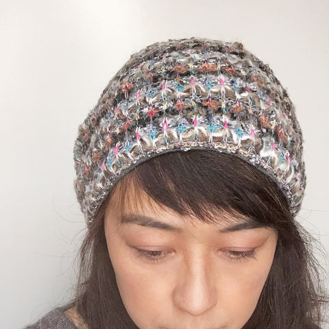 Wool Hat Tie Cream Multi color