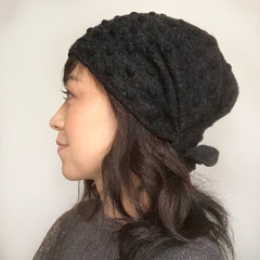 Wool Hat Tie Gray pompom