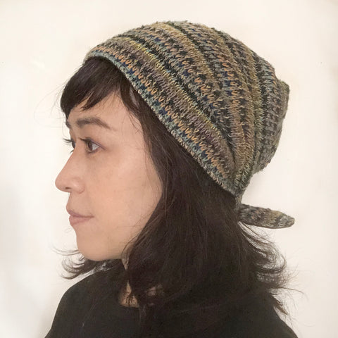 Wool Hat Tie Green Yellow Stripes