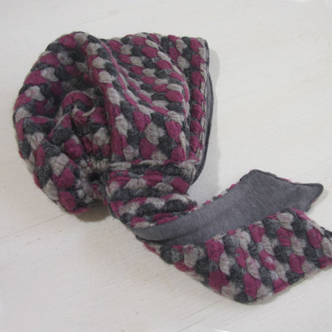 Wool Hat Tie Pink and Gray