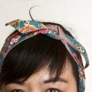 Japanese fabric head scarf, Green Floral New