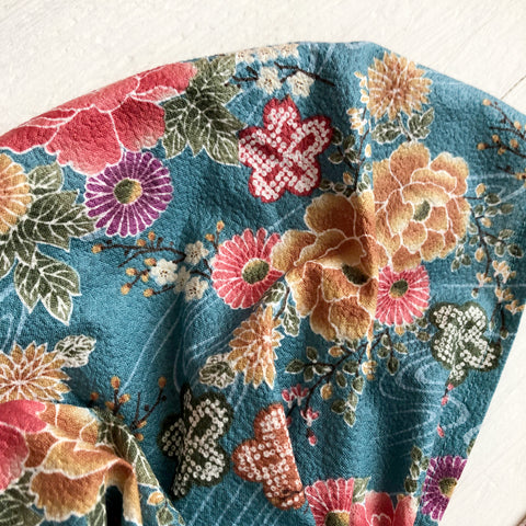 Japanese Kimono Fabric head covering, Blue Green
