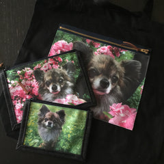 custom order  A photo zipper pocket on Black tote bag