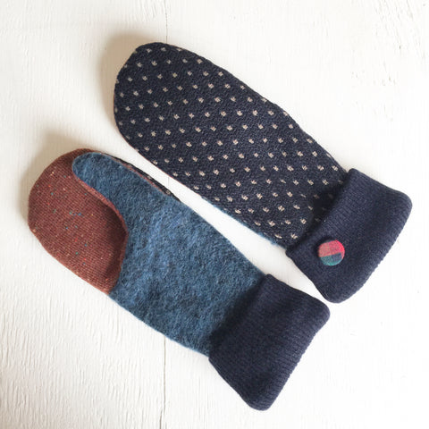 Mittens Navy Polka Dots / Brown - Fall Winter Gloves