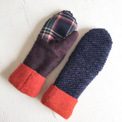Mittens Navy / Orange - Fall Winter Gloves