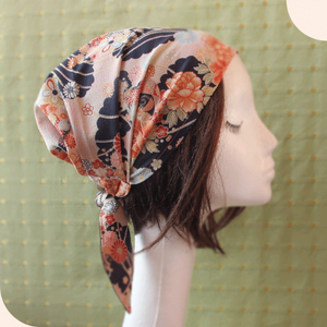 Japanese Kimono Fabric head covering, Navy - Head wrap