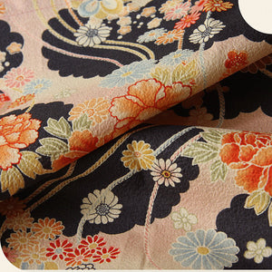 Hair scarf, Japanese Kimono Fabric, Navy, Pink, floral