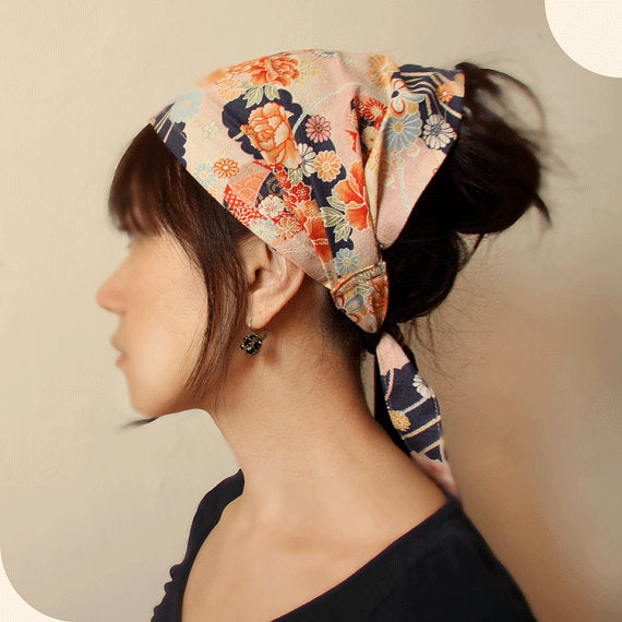 Hair scarf, Japanese Kimono Fabric, Navy, Pink, floral - Headwrap