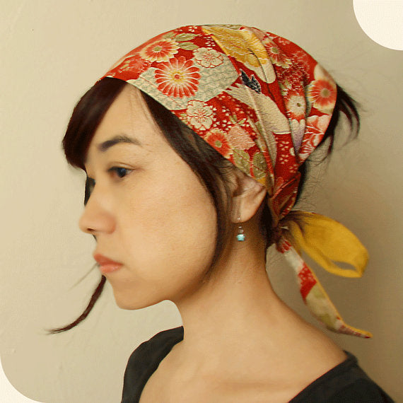 Head scarf, Japanese Kimono Print,  Red, Crane - Head wrap