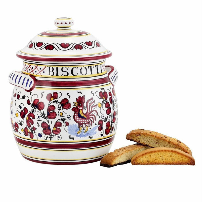 ORVIETO RED ROOSTER: Traditional Biscotti Jar