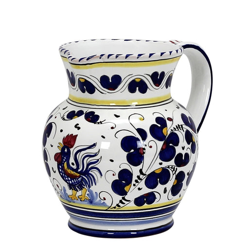 ORVIETO BLU ROOSTER: Traditional Deruta Pitcher (1.25 Liters/40 Oz/5 Cups)
