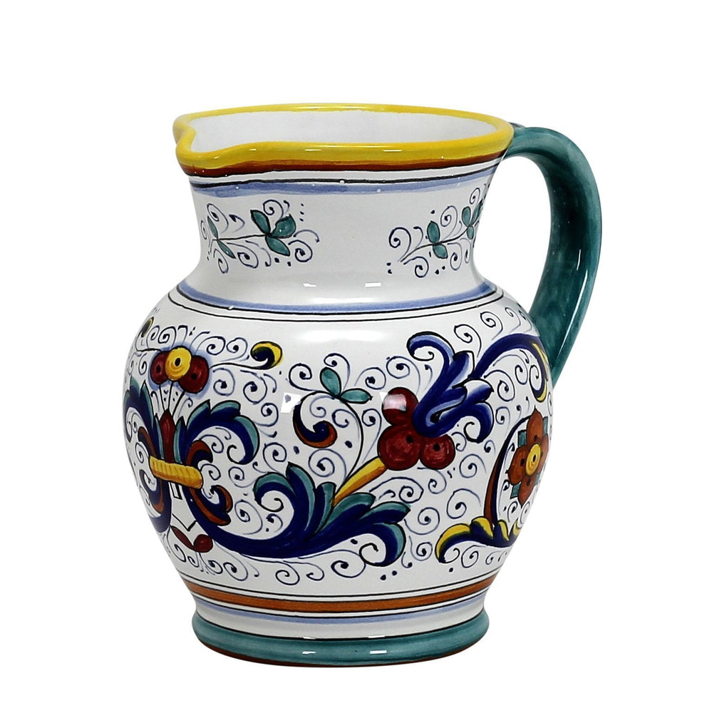 RICCO DERUTA: Traditional Deruta Pitcher (1.25 Liters/40 Oz/5 Cups)