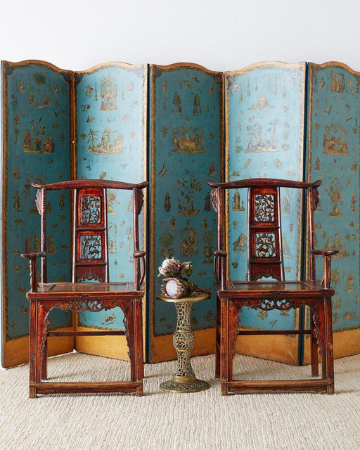 French Chinoiserie Decoupage Six Panel Screen 19th Century