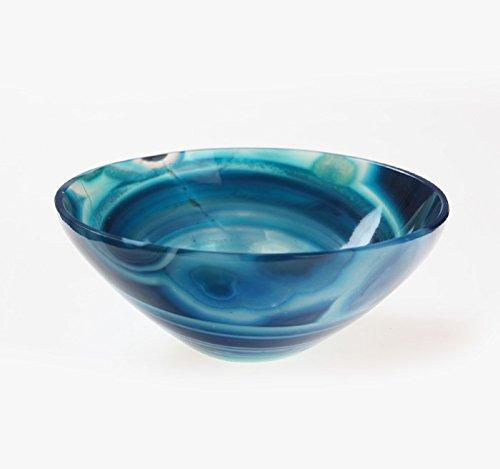 Hand Carved Blue Chalcedony Bowl