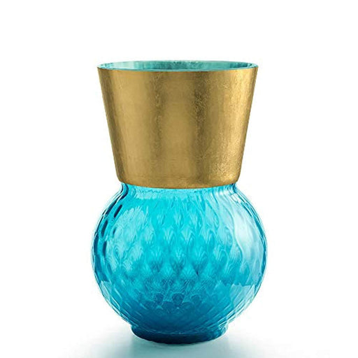 Basilio Big vase Light Blue with Gold Edge