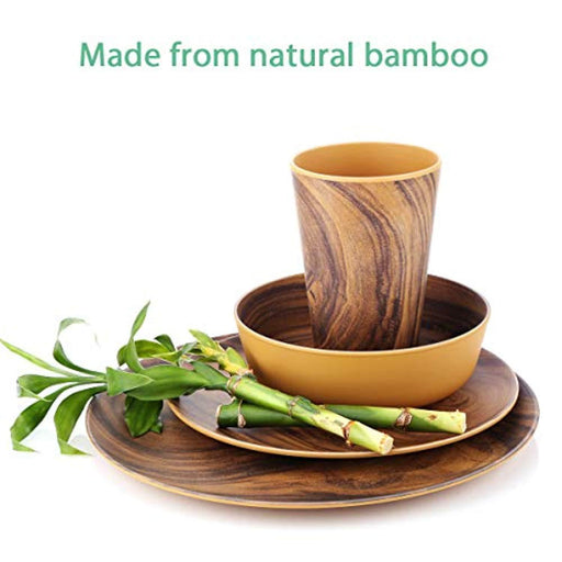 12 Piece Bamboo  Dinnerware Sets