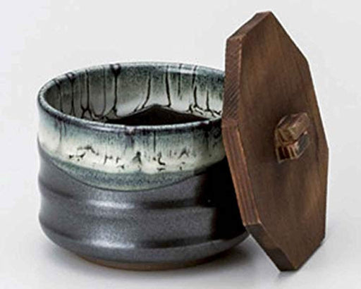 Mino Ware rice bowl with wooden lid,