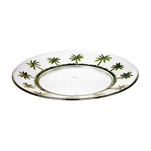 "Acrylic Palm Tree  11"" Plate Set of 4"