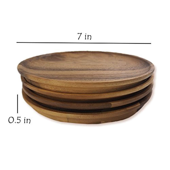 Acacia Wood Serving Charger Plates, 7 Inch Set of 4
