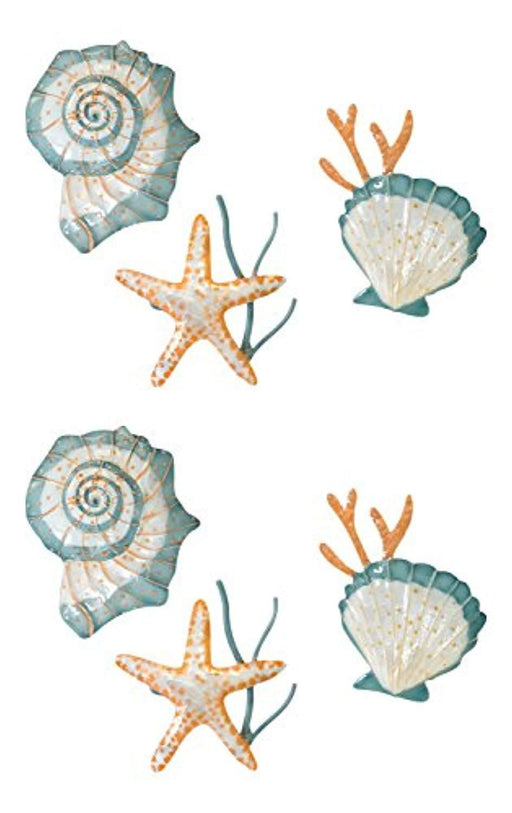 Starfish and Shells Metal Seashell  Napkin Rings Set of 6