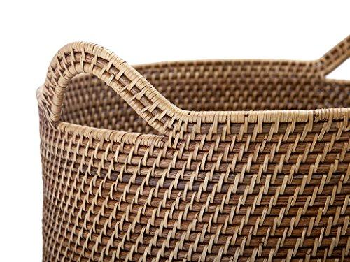 Laguna Round Rattan Storage Basket with Ear Handles, Honey-Brown