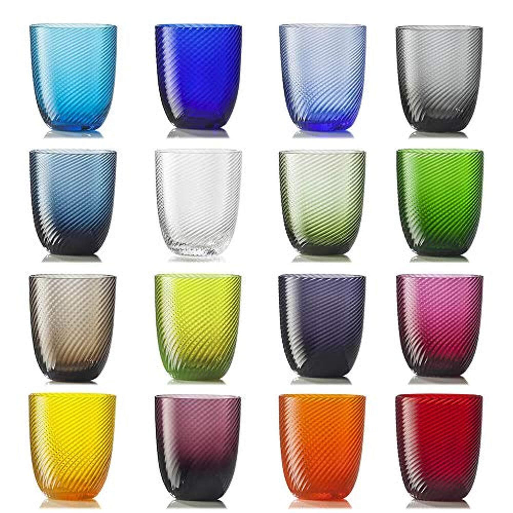Idra twisted striped set 16 glasses different colors