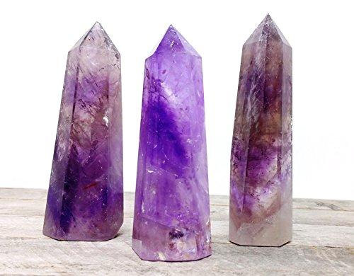 "Large 5"" Amethyst Quartz Crystal Tower Point Perfect Natural Stone for Crystal Healing, Reiki, and Home Decor"