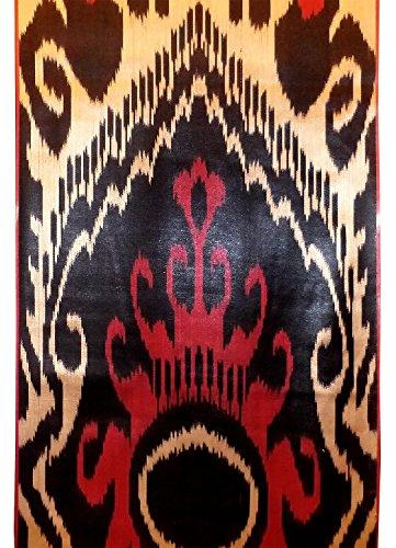 UZBEK HANDMADE HANDCRAFTED WOVEN SILK-COTTON IKAT ADRAS FABRIC BY YARDAGE A10663