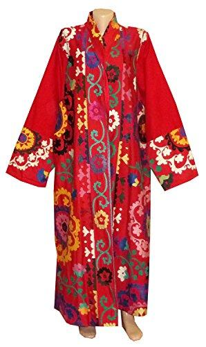 Vintage Uzbek Silk Hand Embroidered Robe Bukhara  A11428