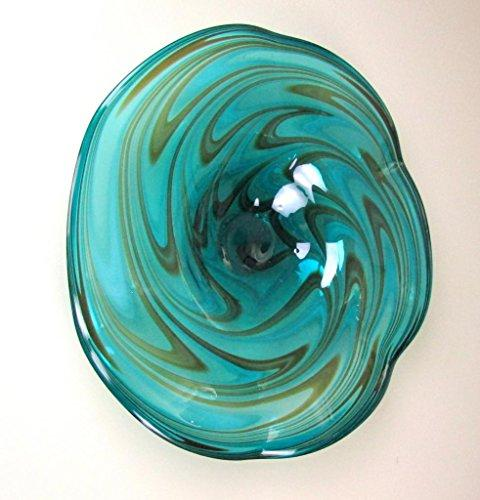 Hand Blown  Glass Table Platter  Green Brown Wall Hanging Mount 25""