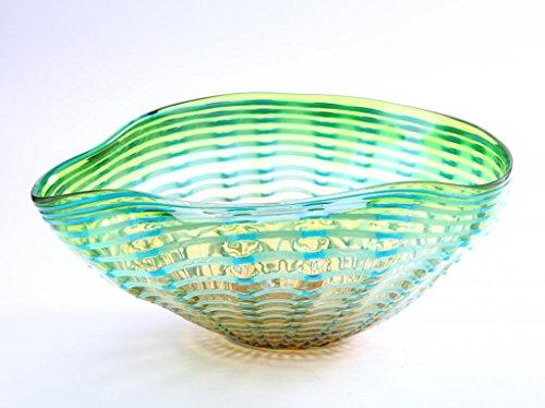 Hand Blown Decorative Ruffle Glass Murano  Style Bowl Green Blue