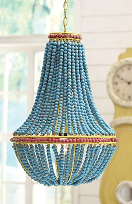Blue & Red Wood Beaded Chandelier with Yellow Accents