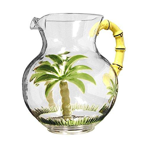 Palm Tree Pitcher With Bamboo Handle