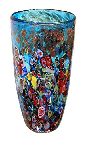 Millefiori  Decorative Hand Blown Glass Murano Style Vase Blue Italian Millefiori