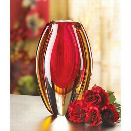 Red and Orange Decorative Glass Vase Centerpiece