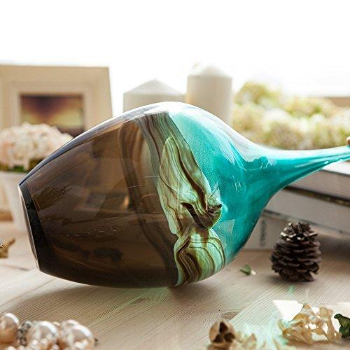 "Fiori Hand Blown Glass Vase Blue and Brown  13.39"" tall )"