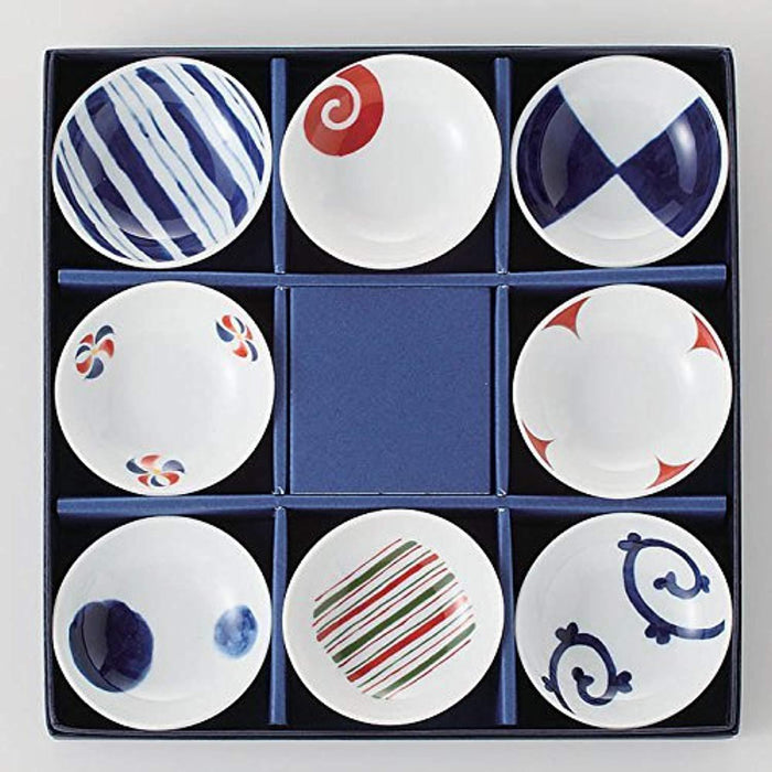 8 Different Pattern Dish Set Japan