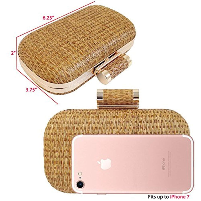 Joice Raffia Straw Box Clutch