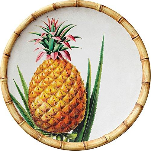 Bamboo Pineapple 9-inch Round Melamine Salad Plates, Set of 6