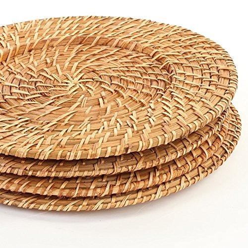 Acacia Rattan Charger Plate, 4-Pack