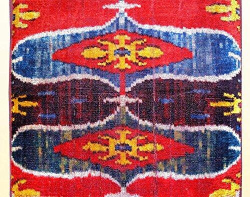 "UZBEK PURE SILK IKAT HANDCRAFTED ABR VELVET FABRIC""BAKHMAL"" A4496 By The Meter"