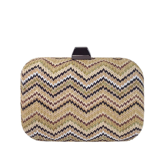 Raffia Straw Box Clutch  Chevron
