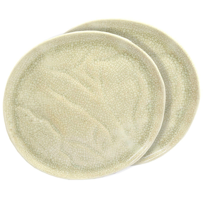 Ceramic Stoneware  Hand-Molded Dinner Plate, 11 Inch Set of 2