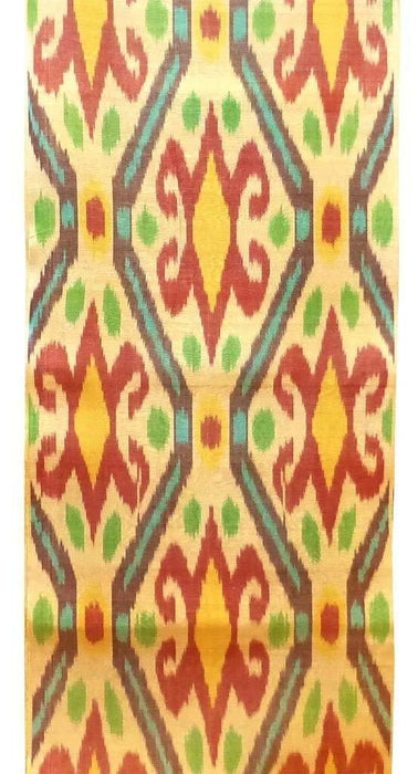 UZBEK HANDCRAFTED WOVEN SILK-COTTON IKAT ADRAS FABRIC By The Meter 1,09 Yard (multi7)