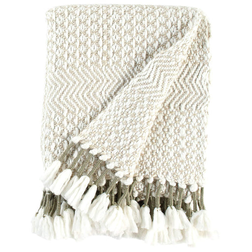 Hand-Woven Stripe Fringe Throw Blanket