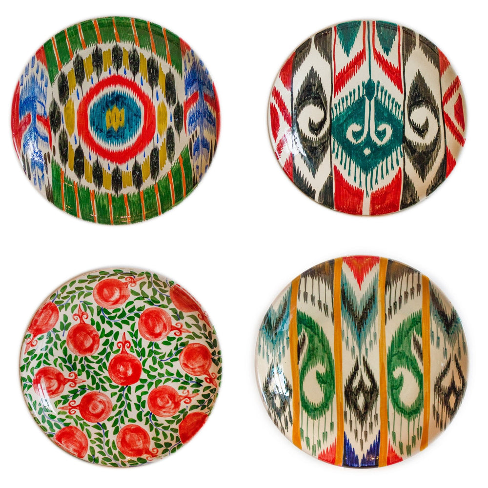 Set of 4 Dinner Hand-painted  Ikat Dinner Plates 19cm